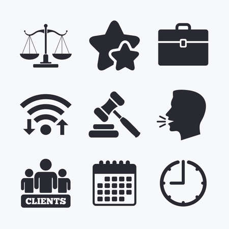 court symbol: Scales of Justice icon. Group of clients symbol. Auction hammer sign. Law judge gavel. Court of law. Wifi internet, favorite stars, calendar and clock. Talking head. Vector Illustration