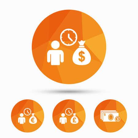 borrow: Bank loans icons. Cash money bag symbols. Borrow money sign. Get Dollar money fast. Triangular low poly buttons with shadow. Vector Illustration