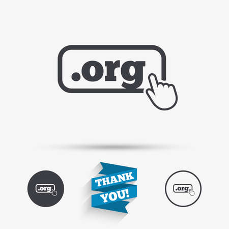org: Domain ORG sign icon. Top-level internet domain symbol with hand pointer. Flat icons. Buttons with icons. Thank you ribbon. Vector Illustration
