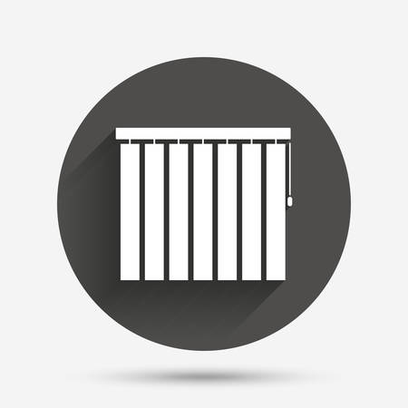 jalousie: Louvers vertical sign icon. Window blinds or jalousie symbol. Circle flat button with shadow. Vector Illustration