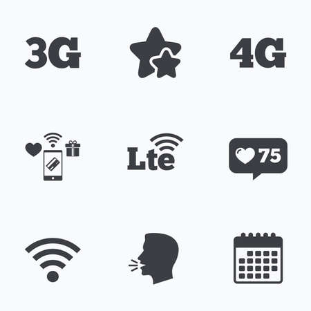 3g: Mobile telecommunications icons. 3G, 4G and LTE technology symbols. Wifi Wireless and Long-Term evolution signs. Flat talking head, calendar icons. Stars, like counter icons. Vector