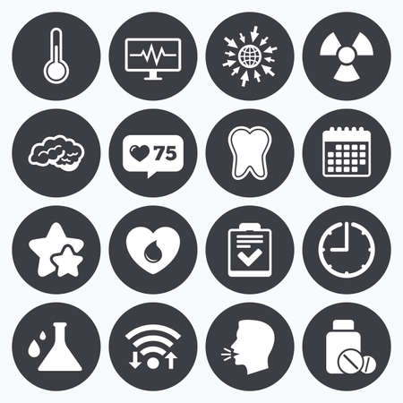 neurology: Calendar, wifi and clock symbols. Like counter, stars symbols. Medicine, medical health and diagnosis icons. Blood donate, thermometer and pills signs. Tooth, neurology symbols. Talking head, go to web symbols. Vector Illustration