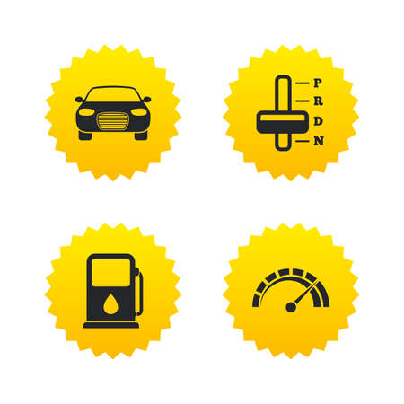 automatic transmission: Transport icons. Car tachometer and automatic transmission symbols. Petrol or Gas station sign. Yellow stars labels with flat icons. Vector