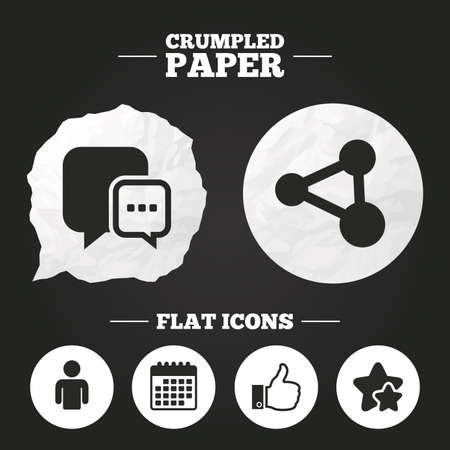 chat up: Crumpled paper speech bubble. Social media icons. Chat speech bubble and Share link symbols. Like thumb up finger sign. Human person profile. Paper button. Vector