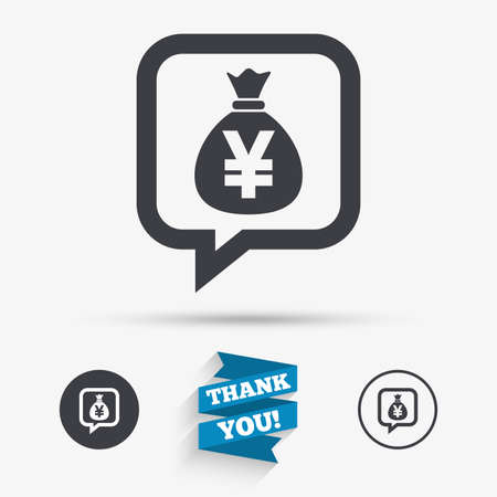 jpy: Money bag sign icon. Yen JPY currency speech bubble symbol. Flat icons. Buttons with icons. Thank you ribbon. Vector