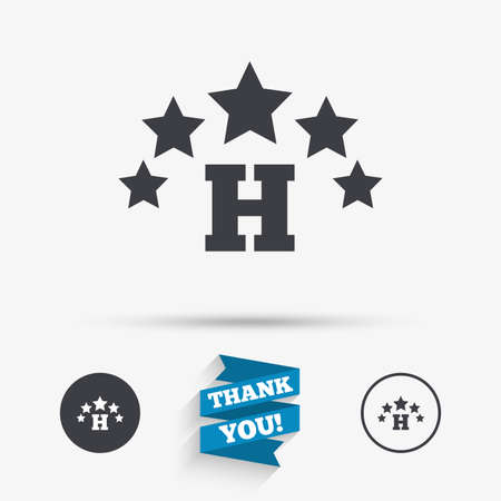 travel star: Five star Hotel apartment sign icon. Travel rest place symbol. Flat icons. Buttons with icons. Thank you ribbon. Vector