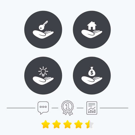 patent key: Helping hands icons. Financial money savings insurance symbol. Home house or real estate and lamp, key signs. Chat, award medal and report linear icons. Star vote ranking. Vector