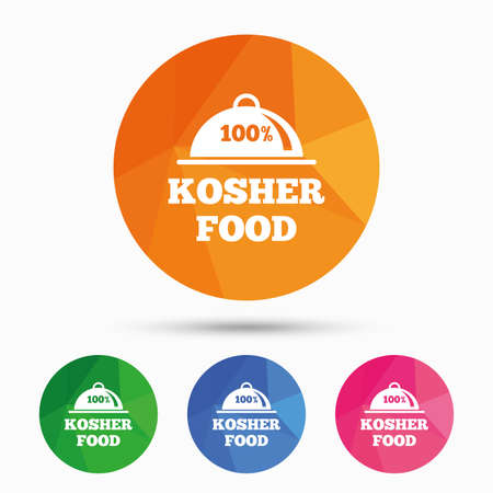 yiddish: 100% Kosher food product sign icon. Natural Jewish food with platter serving symbol. Triangular low poly button with flat icon. Vector Illustration