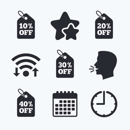 head tag: Sale price tag icons. Discount special offer symbols. 10%, 20%, 30% and 40% percent off signs. Wifi internet, favorite stars, calendar and clock. Talking head. Vector Illustration