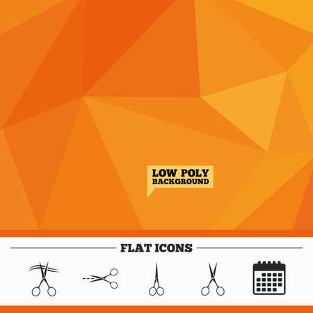 hair cut: Triangular low poly orange background. Scissors icons. Hairdresser or barbershop symbol. Scissors cut hair. Cut dash dotted line. Tailor symbol. Calendar flat icon. Vector
