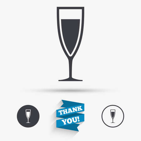 banquet: Glass of champagne sign icon. Sparkling wine. Celebration or banquet alcohol drink symbol. Flat icons. Buttons with icons. Thank you ribbon. Vector Illustration