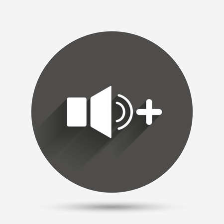 louder: Speaker volume louder sign icon. Sound symbol. Circle flat button with shadow. Vector Illustration