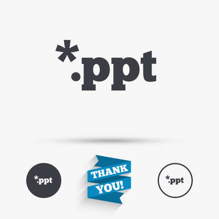 ppt: File presentation icon. Download PPT button. PPT file extension symbol. Flat icons. Buttons with icons. Thank you ribbon. Vector