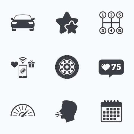 tachometer: Transport icons. Car tachometer and mechanic transmission symbols. Wheel sign. Flat talking head, calendar icons. Stars, like counter icons. Vector Illustration
