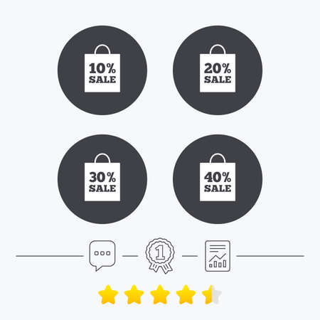 20 30: Sale bag tag icons. Discount special offer symbols. 10%, 20%, 30% and 40% percent sale signs. Chat, award medal and report linear icons. Star vote ranking. Vector Illustration
