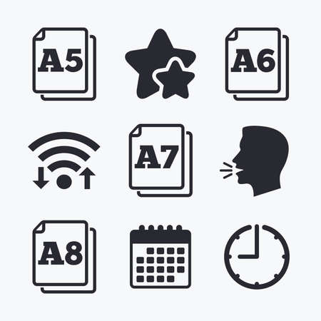 a7: Paper size standard icons. Document symbols. A5, A6, A7 and A8 page signs. Wifi internet, favorite stars, calendar and clock. Talking head. Vector