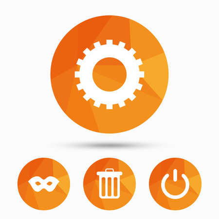 anonymous: Anonymous mask and cogwheel gear icons. Recycle bin delete and power sign symbols. Triangular low poly buttons with shadow. Vector Illustration