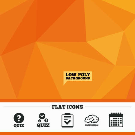 poll: Triangular low poly orange background. Quiz icons. Human brain think. Checklist with check mark symbol. Survey poll or questionnaire feedback form sign. Calendar flat icon. Vector Illustration