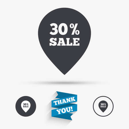 you are special: 30% sale pointer tag sign icon. Discount symbol. Special offer label. Flat icons. Buttons with icons. Thank you ribbon. Vector