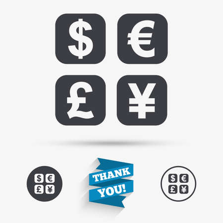 converter: Currency exchange sign icon. Currency converter symbol. Money label. Flat icons. Buttons with icons. Thank you ribbon. Vector Illustration