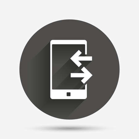 outcoming: Incoming and outcoming calls sign icon. Smartphone symbol. Circle flat button with shadow. Vector