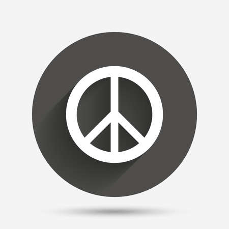 pacificist: Peace sign icon. Hope symbol. Antiwar sign. Circle flat button with shadow. Vector Illustration
