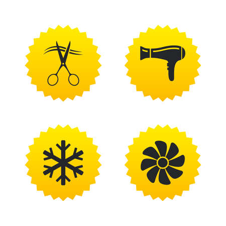 fiambres: Servicios de hoteles iconos. Aire acondicionado, Secador de pelo y ventilación en los signos de las habitaciones. Control climatico. Peluquería o barbería símbolo. estrellas amarillas etiquetas con los iconos planos. Vector Vectores