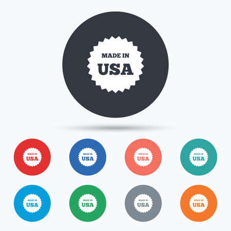 import trade: Made in the USA icon. Export production symbol. Product created in America sign. Circle buttons with icons. Vector