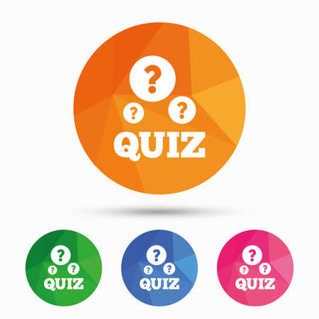 quality questions: Quiz with question marks sign icon. Questions and answers game symbol. Triangular low poly button with flat icon. Vector