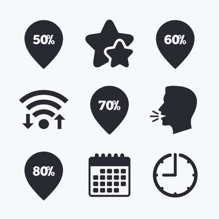 head tag: Sale pointer tag icons. Discount special offer symbols. 50%, 60%, 70% and 80% percent discount signs. Wifi internet, favorite stars, calendar and clock. Talking head. Vector