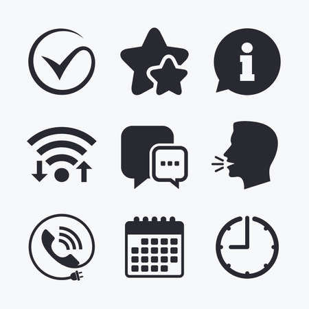 head phone: Check or Tick icon. Phone call and Information signs. Support communication chat bubble symbol. Wifi internet, favorite stars, calendar and clock. Talking head. Vector