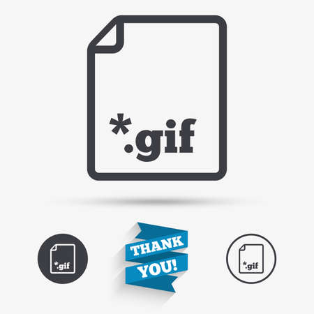 gif: File GIF sign icon. Download image file symbol. Flat icons. Buttons with icons. Thank you ribbon. Vector Illustration