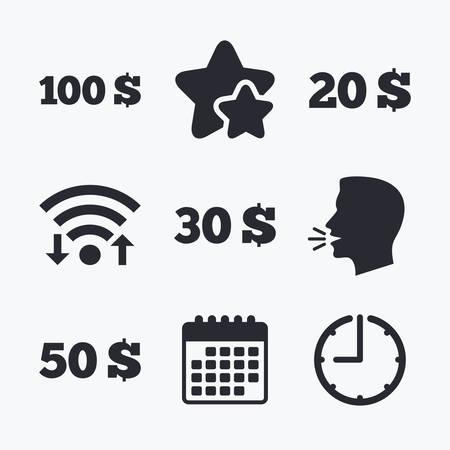 20 30: Money in Dollars icons. 100, 20, 30 and 50 USD symbols. Money signs Wifi internet, favorite stars, calendar and clock. Talking head. Vector Illustration