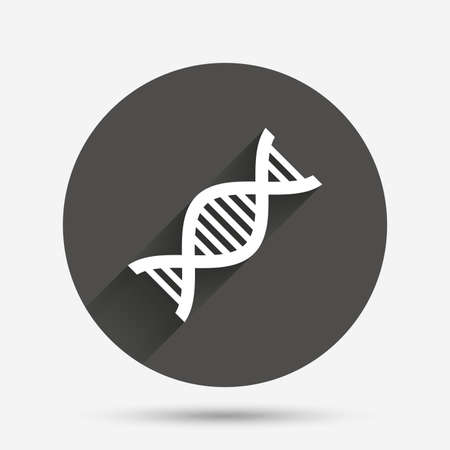 deoxyribonucleic: DNA sign icon. Deoxyribonucleic acid symbol. Circle flat button with shadow. Vector