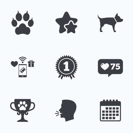 medal like: Pets icons. Cat paw with clutches sign. Winner cup and medal symbol. Dog silhouette. Flat talking head, calendar icons. Stars, like counter icons. Vector
