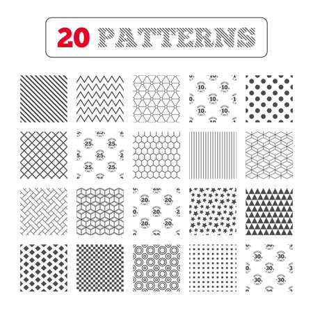 20 25: Ornament patterns, diagonal stripes and stars. Sale discount icons. Special offer stamp price signs. 10, 20, 25 and 30 percent off reduction symbols. Geometric textures. Vector