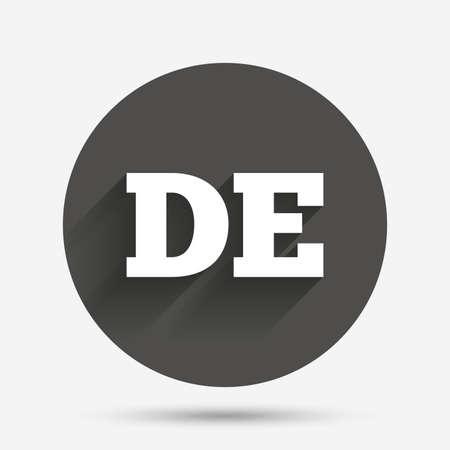 deutschland: German language sign icon. DE Deutschland translation symbol. Circle flat button with shadow. Vector Illustration