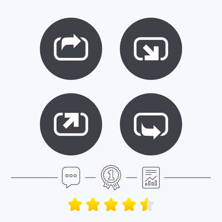 forward arrow: Action icons. Share symbols. Send forward arrow signs. Chat, award medal and report linear icons. Star vote ranking. Vector