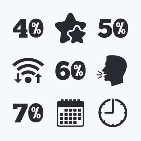 40 50: Sale discount icons. Special offer price signs. 40, 50, 60 and 70 percent off reduction symbols. Wifi internet, favorite stars, calendar and clock. Talking head. Vector Illustration