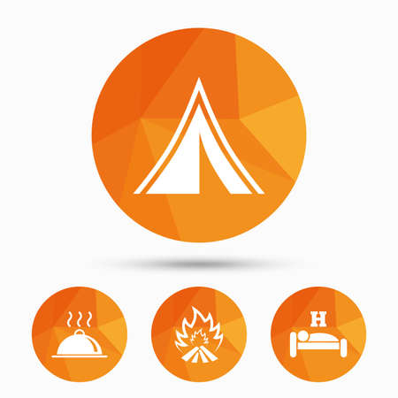 breakfast in bed: Hot food, sleep, camping tent and fire icons. Hotel or bed and breakfast. Road signs. Triangular low poly buttons with shadow. Vector Illustration