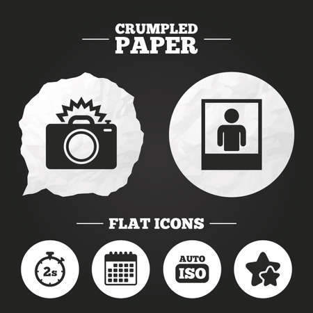 seconds: Crumpled paper speech bubble. Photo camera icon. Flash light and Auto ISO symbols. Stopwatch timer 2 seconds sign. Human portrait photo frame. Paper button. Vector