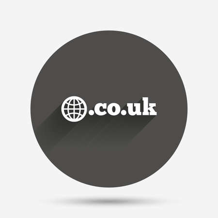 subdomain: Domain CO.UK sign icon. UK internet subdomain symbol with globe. Circle flat button with shadow. Vector
