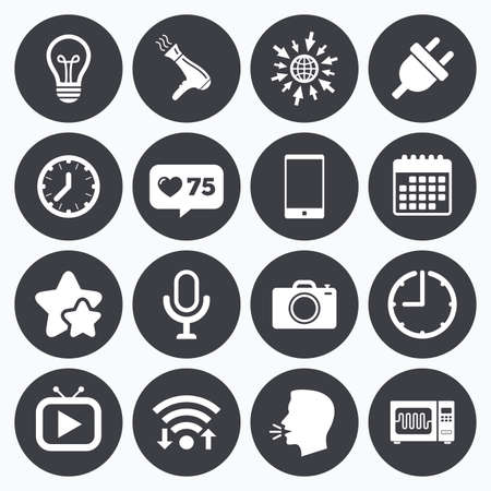 Calendar, wifi and clock symbols. Like counter, stars symbols. Home appliances, device icons. Electronics signs. Lamp, electrical plug and photo camera symbols. Talking head, go to web symbols. Vector Illustration