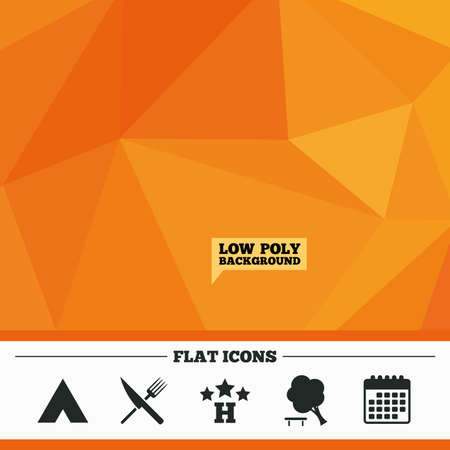 break down: Triangular low poly orange background. Food, hotel, camping tent and tree icons. Knife and fork. Break down tree. Road signs. Calendar flat icon. Vector Illustration