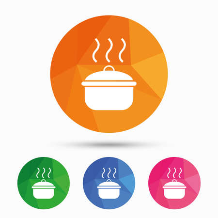 stew: Cooking pan sign icon. Boil or stew food symbol. Triangular low poly button with flat icon. Vector