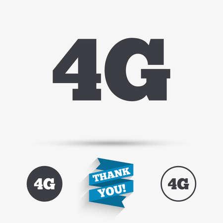 Icône de signe 4G. Symbole de la technologie des télécommunications mobiles. Icônes plates. Boutons avec des icônes. Merci ruban. Vecteur