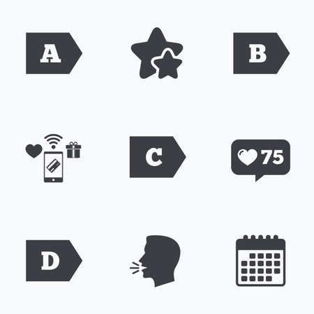 Energy efficiency class icons. Energy consumption sign symbols. Class A, B, C and D. Flat talking head, calendar icons. Stars, like counter icons. Vector