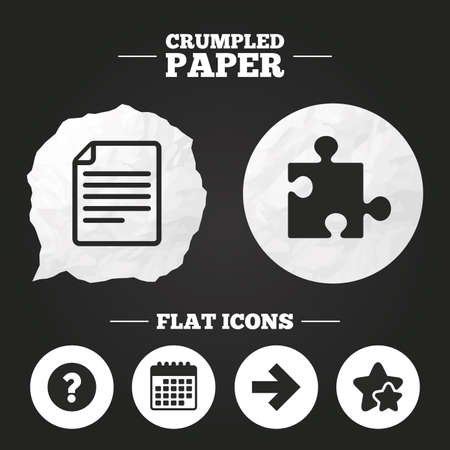 Crumpled paper speech bubble. Question mark and puzzle piece icons. Document file and next arrow sign symbols. Paper button. Vector Illustration