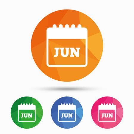 Calendar sign icon. June month symbol. Triangular low poly button with flat icon. Vector