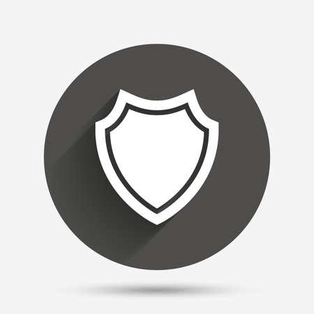 Icône de signe de bouclier. Symbole de protection. Bouton plat cercle avec ombre. Vecteur